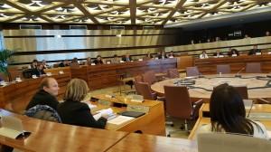Séance de travail en salle du Conseil Départemental